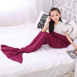 Wholesale Handmade Children - new 16 Colors 140*70cm Kids Handmade Knitted Mermaid Blankets Mermaid Tail Blanket Crochet Blanket Throw Bed Wrap Sleeping Bag WN294
