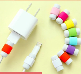 Wholesale Silicone Earphone Case - silicone cable saver data sync charger charging line earphone cord cables case protector saviors for iphone 7 6 5 samsung s7 s8
