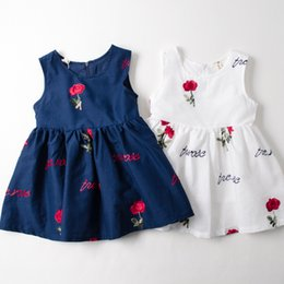 Wholesale White Rose Tutu Dress Wholesale - Everweekend Girls Rose Flower Embroidered Cotton Summer Dress Princess Blue and White Color Sweet Children Cotton Dress