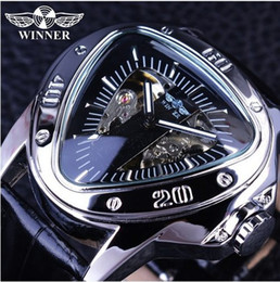 Wholesale Triangle Men Watches - WINNER Top Brand Luxury Mens Wrist Watch Men Military Sport Clock Automatic Mechanical Watches Male Steel Skeleton Clock