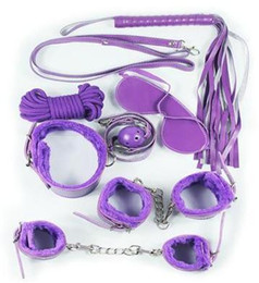 Wholesale Handcuffs Gag Bondage - 2017 New arrival Bondages 7Pcs set Bondage Kit Set Fetish BDSM Roleplay Handcuffs Whip Rope Blindfold Ball Gag Black Red Pink Purple Slave B