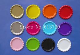 Wholesale Necklaces Colored - Wholesale- 1200pcs lot colored 1 inch 25mm flattened bottle caps for bows Flat Metal Bottle Caps necklace accessories mix 12colors
