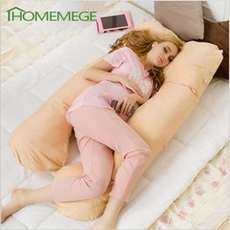 Wholesale Sleeping Body - Wholesale- Sleeping Pregnancy Pillow Belly Contoured Maternity U Shaped Body Pillows For Side Sleeper Removable 80x140cm