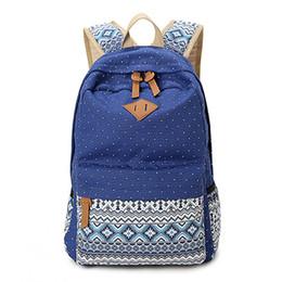 Wholesale korean laptop bags for women - Wholesale- Women Backpack School Bags For Teenage Girls Dot Printing Canvas Backpack Female Youth Laptop Backpack Korean Feminine sac a dos