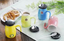 Wholesale Cherry Logo - Small fresh Starbucks color logo cherry coffee cup with cover spoon Creative glaze ceramic mug 320ML for coffee milk Breakfast Mug