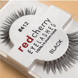 Wholesale Red Synthetic Hair Extensions - 1 Pairs RED CHERRY False Eyelashes Natural Long Eye Lashes Extension Makeup Professional Faux Eyelash Winged Fake Lashes Wispies 412