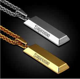 Wholesale 2017 men DJ Long Chain Men Necklace Hip Hop Jewelry Silver Gold Color Square Pendant Necklaces Dj Rap Style Hipster Mens Jewellery Collier