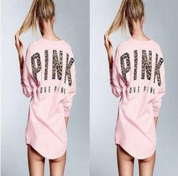 Wholesale Sweatshirts Leopard - Pink Printed Leopard Letter Hoodies Shirt Women VS Pink Hoodie Long Sleeve Sweatshirt Kawaii Suits LJJO2278