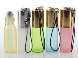 Wholesale Mini Bottle Essential - 3ml 5ml Mini Glass Metal Roll on Bottle for Essential Oils 3cc 5cc Empty Perfume Glass Vials with Key Chain Glass Roller Bottles