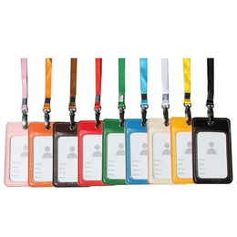 Wholesale Brands Badge Holder - Name Credit Card Holders Women Men PU Bank Card Neck Strap Card Bus ID holders candy colors Identity badge with lanyard Brand Cardholder