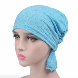 Wholesale Cloth Head Wrap - 7Pcs lot Women Cancer Chemo Hat Beanie Scarf Turban Head Wrap Cap Summer Women Knitted Casual Chiffon Cloth Hat