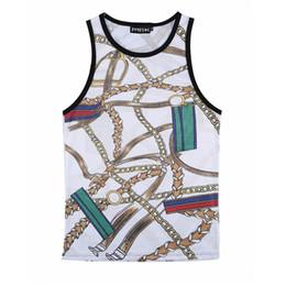 Wholesale Retro Hip Hop Clothing - Wholesale- New Summer Sleeveless Vest Harajuku 3D Chain Pattern Tank Tops Retro Men's Streetwear Casual Hip Hop Mesh bodybuilding Clothing