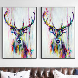 Wholesale Colorful Abstract Art Oil Paintings - Colorful Abstract Oil Paintings Modern Animals Deer Print Canvas Paintings Home Art Wall Decor Christmas Gifts