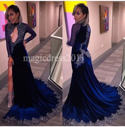 Wholesale Modern Art Nude Girls - Chic Blue Mermaid Evening Dresses with Long Sleeves Black Girl Couple 2017 Prom Dress Keyhole Neck Celebrity Gowns Women Pageant Runway