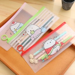 Wholesale Lovely Pencil Case - Wholesale- Kawaii Lovely Bear Style PVC Pen Bag Pencil Case Storage Organizer Student Stationery School Supply Birthday Gift