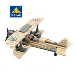 Wholesale Plane Brick Block - KAZI 82001 Century Military Sopwith F-1 Camel Fighter Plane Building Blocks Set Pilot Bricks Model DIY Toys