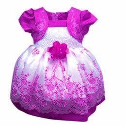 Wholesale Korean Style Wedding Gowns - Wholesale- 2016 Summer Autumn Korean Girls Dress Floral Lace Party Wedding Princess Dresses