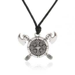 Wholesale Wholesale Axes - Newest Design Viking Axe Barbarian Gladiator Medieval God Jewelry Double Axes Shield Necklace Stainless Jewelry