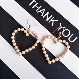 Wholesale Pearl Wholsale - Korean Earring Soft Adorable Love Sweet Peach Heart Earrings Retro Geometric Pearl Earrings Diamond wholsale SY- 32