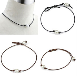 Wholesale Black Pearl Choker Necklace - Handmade Single Pearl Leather Choker Necklace on Genuine Black Brown Leather Cord For Women Fashion Imitation Natural Freshwater Pearl