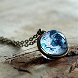Wholesale Easter Solar - 12pcs lot Earth necklace Planet Earth Glob Solar system necklace Space jewelry Glass dome necklace