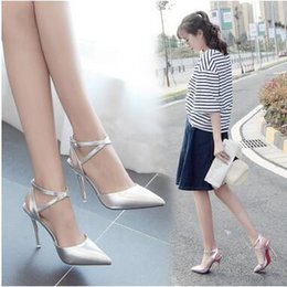Wholesale Purple Vintage High Heel Shoes - Spring Women's Pointed Toe PU Low High Heels Shoes Ankle Buckle Shoes Elegant Vintage High-Heeled Sandals Wedding Dress Shoes High Quality