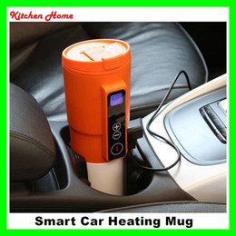 Wholesale 12v Coffee - 12V Electric Smart Car Heating Mugs Insulated Rechargeable Water Coffee Milk Tea Vehicle Heater Cups Bottles Travelling Car Heated Kettles