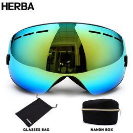 Wholesale Double Lens Ski Goggles - Wholesale- New HERBA brand ski goggles Ski Goggles Double Lens UV400 Anti-fog Adult Snowboard Skiing Glasses Women Men Snow Eyewear