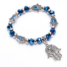Стеклянные шарики сглаза онлайн-Wholesale-Vintage Charms Turquoise  Bracelet Fashion Hamsa Hand Evil Eye Crystal Glass Bracelets Women Fine Jewelry Pulseras G042