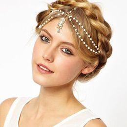 accesorios para el cabello boda india Rebajas 2017 hermosa boda nupcial accesorios para el cabello más barato envío gratis con cuentas de perlas cabeza cadena india joyería del pelo de las mujeres