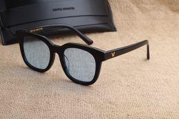 Wholesale Men Fashion New Korea - New V brand Gentle Monster South Side Sunglasses Vintage Female blue night Glasses Korea Men Women Sunglasses oculo feminino