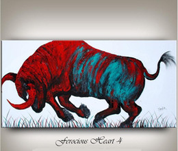 Wholesale Bull Canvas Painting - Framed Bull Red Abstract painting,Hand Painted wall decor Animal Art black Art Oil Painting On canvas,Multi sizes Free Shipping Ab065