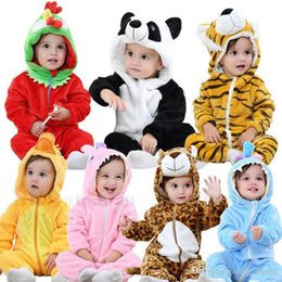 Wholesale Infant Hooded Towels - Newborn Animal Bathrobe Baby 3D Cartoon Robes Infant Hooded Romper Long Sleeve Beach Towels Costume Flannel Jumpsuits Baby Clothes New H513