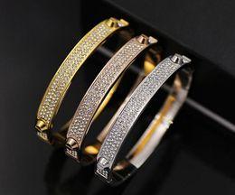 Wholesale Gold Rivet Bangle - Famous Brand Fashion Bangles Rivet 316L Titanium Stainless Steel Full Crystal Bangles Bracelets Fashion Jewelry For Women and Men Hot Sale