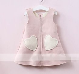Wholesale Wholesale Wool Skirts - 2017 Autumn New Baby Girl Dress Love pocket lambs wool Sleeveless Vest Skirt Children Clothing 318205