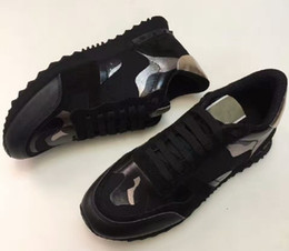 Botas tachonadas online-Mujer Hombre Boot Star Zapatos con tachuelas Malla de cuero Camuflaje Zapatos con tachas Combo Estrellas Rock Runner Zapatos con cordones metálicos Espárragos de roca