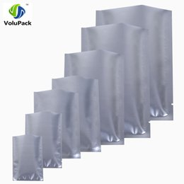 Wholesale Stockings Tear - 100pcs Multi Sizes Custom Print LOGO Storage Bag, Tear Notch Silver Mylar Aluminum Foil Flat Open Top Package Bag