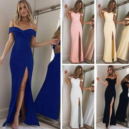 vestido de noite sem alças da forma Desconto 2018 Elegante Senhoras Moda Sexy V pescoço Strapless Lápis Vestido Evening Party Side Split Maxi Vestido