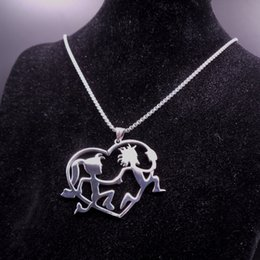 Wholesale Icp Hatchetman Necklace - silver ICP Jewelry large Stainless Steel craziness Hatchetman Hatchet women Juggalette Heart Pendant with 3mm 30 inch box chain Necklace