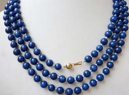 Wholesale Egyptian Lazuli Lapis - 8mm Egyptian Lapis Lazuli Dark Blue Round Bead Gemstones necklace 50''