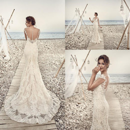 Wholesale Eddy K - 2017 Wedding Dresses Eddy K Aires Mermaid Appliques Lace Gorgeous Sheer Neck and Back Cap Sleeve Vintage Lace Wedding Gowns Custom Made