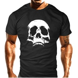 Wholesale Men S Skull Heads - 2017 hot head sets of short-sleeved anti-wrinkle Xl high-quality 100% cotton T-shirt short-sleeved casual cool skull print T-shirt men's pun