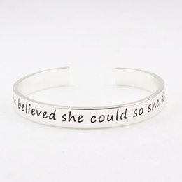 Wholesale 14k Gold Letters Wholesale - Wholesale-5pcs lot Diy Fashion Cuff Bracelet Bangle 'she believe she could so she did ' Letter Alloy Bracelets