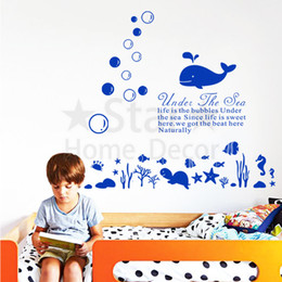 Wholesale underwater wall art - Good quality art new design undersea world cheap home decoration Wall Sticker removable house decor cartoon underwater decals