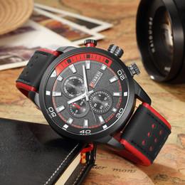 Wholesale Curren Leather - CURREN Leather Strap Round Quartz Wristwatches 8250 Brand Top Fashion Casual Quartz Wrist Watch Men Leather Relojes