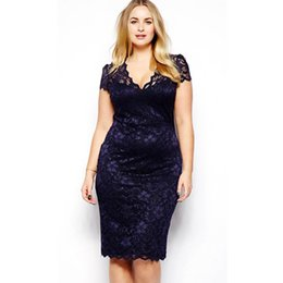 Wholesale Plus Size Stretch Pencil Dress - Wholesale- Plus Size Sexy Women's Lace Stretch Cocktail Party Bodycon Pencil Dress