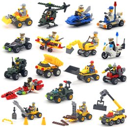 Wholesale Toys Building Excavator - Cars Building Blocks Fire truck police car Mini Figure Toys Ninja figures crane Raytheon Reconnaissance car tank Excavator Assault car Racer