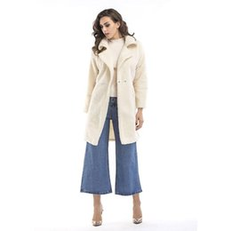 Wholesale White Wool Trench - 2017 Winter Coat Women Pocket Wool Blend Coats Oversize Long Black Trench Outwears Gray Outwear Wool White Coat Patchwork Thick