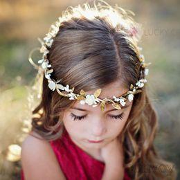 Wholesale gold flower hair - Baby Hair Beach Garlands DIY Gold Leaf Flower Headbands Girl Elastic Garland Wedding princess headwear Children Hair Accessories KGA09