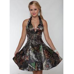 Wholesale Leather Dress Zipper Front - 2016 Camo Prom Dresses Short V Neck Satin A Line Knee-Length Prom Dress Party Dress Vestidos De Festa Homecoming Dresses